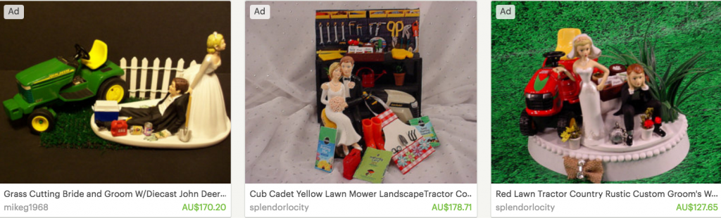 Lawn mower wedding cake toppers, featured on Etsy.com