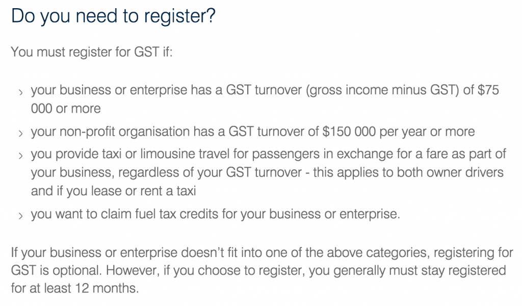 Do I need to register for GST? ATO Website