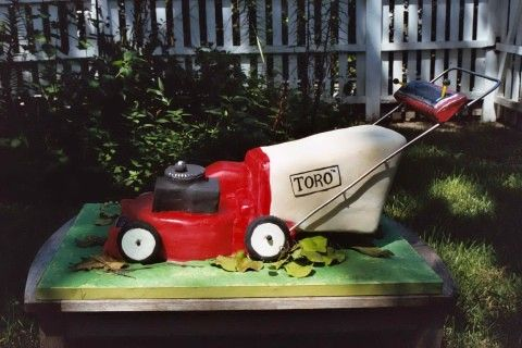 Life size Toro lawn mower cake pinned from Wildflowers by Lori on Pinterest