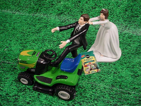 Lawn mower wedding cake (topper) sold by Etsy, here on Pinterest