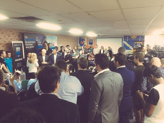 Prime Minister Turnbull's visit with The Hon. Wyatt Roy at River City Labs