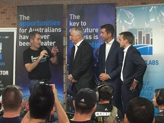 Steve Baxter hosting Prime Minister Turnbull's visit at River City Labs © GreenSocks