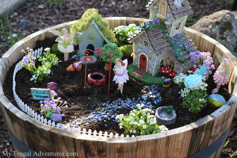 Fairy Garden in wooden barrel (Image credit: MyFrugalAdventures) http://myfrugaladventures.com/2016/02/how-to-make-a-fairy-garden-for-indoor-or-outdoor/