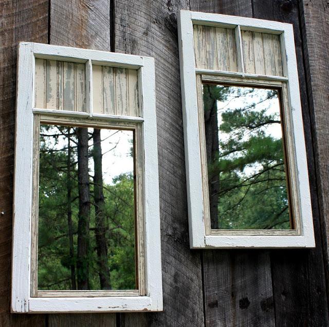 Mirrors in window frames on garden fence by Liz at TheBrambleBerryCottage