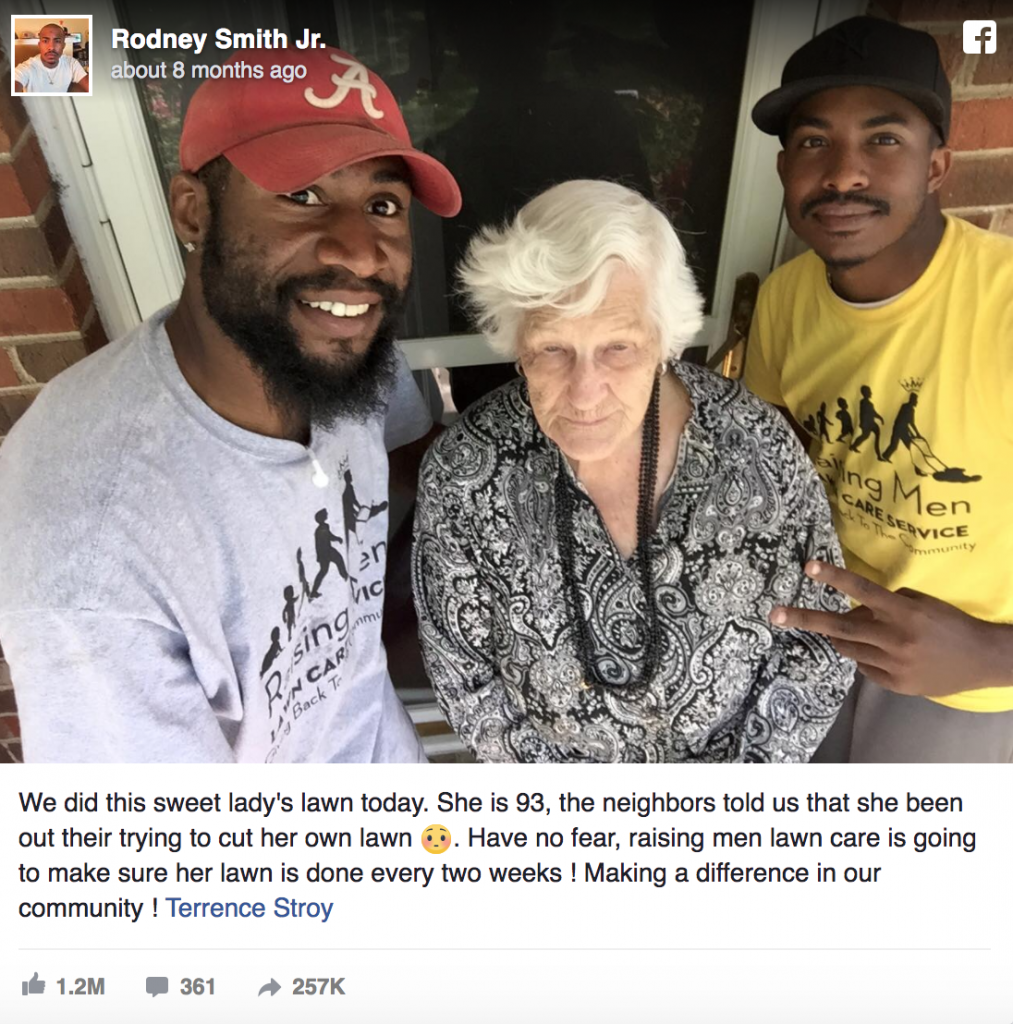 Raising Men Lawn Care using their lawn mowers to save this 93-year-old lady mowing her own lawn