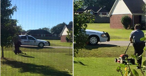 Policeman mows mother's lawn (Image credit: GodToday.com)